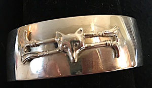 Bracelet, AH Designed vintage 1970's sterling cuff mounted with 19th c stock pin, double whip & fox