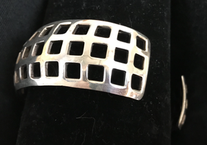 Bracelet, AH Designed, sterling mid century modern geometric cuff mounted with 1870's sterling stock pin
