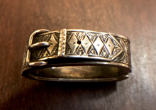 Load image into Gallery viewer, Scarf ring, 19th c British sterling, buckle design, hinged & engraved