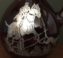 Load image into Gallery viewer, Vases, ruby & amber glass with applied silver hunt scene, early-mid 1900's, (priced separately)