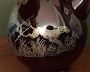 Vases, ruby & amber glass with applied silver hunt scene, early-mid 1900's, (priced separately)