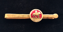 Load image into Gallery viewer, Tie bar, vintage, gold plate & red enamel, horse & rider (can also be used as a small money clip)