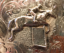 Load image into Gallery viewer, Belt Buckle, Rare Diablo Western Style Hunter-Jumper rider, solid sterling