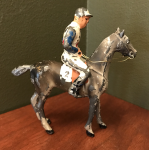 Vintage Toys, hunting & racing, cold painted lead figures of hunting lady and jockey, (priced separately)
