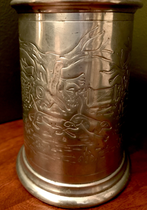 Bar/Tableware, Tankard, Fox handle, Sheffield English pewter w foxhunting scene
