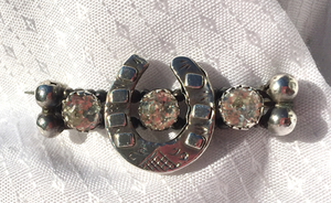 "Stock Pin-Brooch, Mid 1800's Sterling horse shoe pin w ""paste"" diamonds, perfect for Dressage"