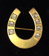 "Load image into Gallery viewer, Brooch, horse shoe w ""paste"" glass ""diamonds"", gilded sterling silver, Dressage"