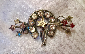 "Stock pin-Brooch, Dressage Ring, Antique Sterling & 9 kt green & rose gold sweetheart horse shoe w ""paste"" glass diamonds"