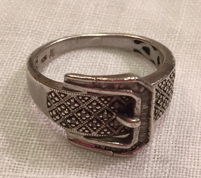Ring, Vintage Sterling & Marcasite Buckle design
