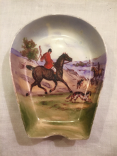 Load image into Gallery viewer, Desk Catch-All, Fine China, Vintage Foxhunting Pin Dish or Ashtray