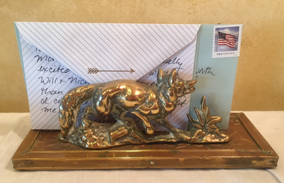 Desk Letter Holder, Old English Brass Fox & Fence