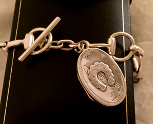 Bracelet, AH designed 19th C Horse Shoe Locket on Sterling Bit links
