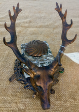 Load image into Gallery viewer, Desk Inkwell & Pen Stand, Arts & Crafts-Art Nouveau, Bradley & Hubbard stag pen rest & inkwell
