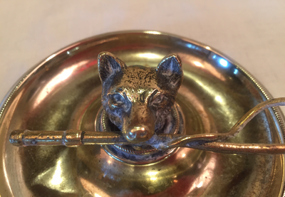 Desk Catch-All or Pin Dish, Antique Trophy w Fox & Hunt Whip