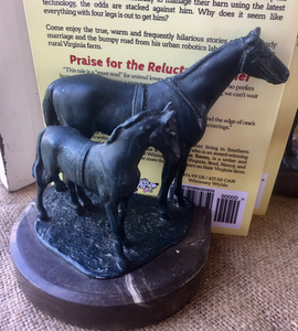 Bookends, Mare & Foal on Marble base
