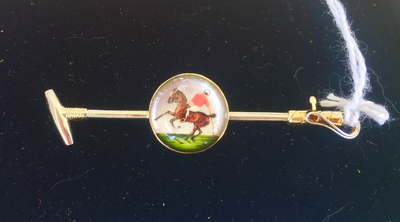 Reverse Crystal Stock Pin, Polo, 14 kt