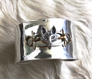 Bracelet, AH designed Sterling Cuff, Mounted w Modern Sterling Brooch w Brass Accents