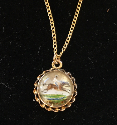 Reverse Crystal 14kt Gold Racing Scene Pendant on 9kt Gold Necklace
