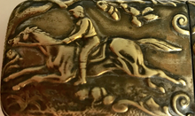 Load image into Gallery viewer, Vesta case-lighter case with embossed 19th c steeplechase scene, Desk Conversation Piece