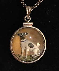 Necklace, reverse crystal, double sided terrier