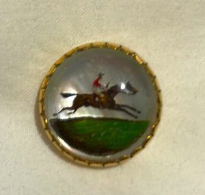 Stickpin, antique reverse painted crystal in 14 kt setting