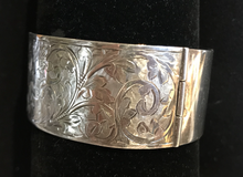 Load image into Gallery viewer, Bracelet, hand engraved floral pattern, sterling 1936