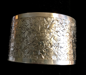 Bracelet, hand engraved sterling, antique, Art Nouveau