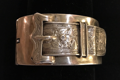 Bracelet, 19th C buckle, hand engraved, unmarked sterling