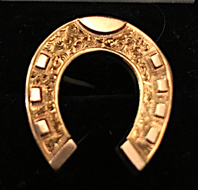 Brooch, antique horse shoe, 19th c, 15 kt gold