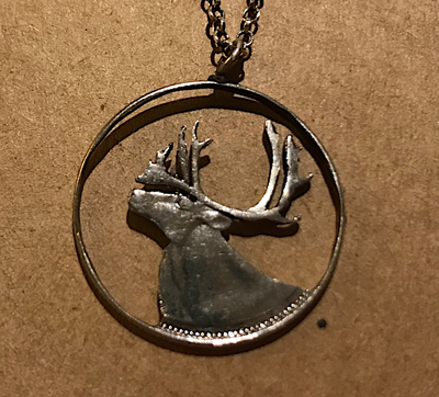 Necklace, silver elk cut out pendant, Canadian 25 cent piece on chain