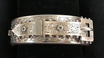 Bracelet, buckle, hand engraved, unmarked sterling, beaded edge