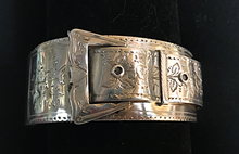 Load image into Gallery viewer, Bracelet, buckle, sterling, hallmarked 1885, hand engraved