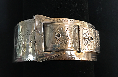 Bracelet, buckle, sterling, hallmarked 1885, hand engraved