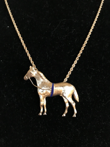 "Necklace, 14 kt gold large horse pendant w a blue surcingle on woven 18"" chain"