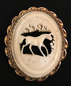Brooch, carved antler, late 19th c-early 20thc