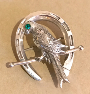 Brooch, sterling lucky horseshoe & bird