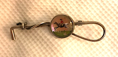 Stock pin, reversed painted hunting crystal on sterling whip, 1920's era