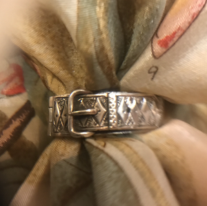 Scarf ring, 19th c British sterling, buckle design, hinged & engraved