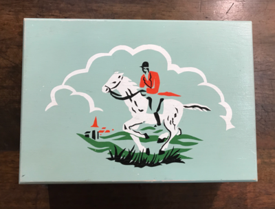 Box, vintage hunting scene, stenciled
