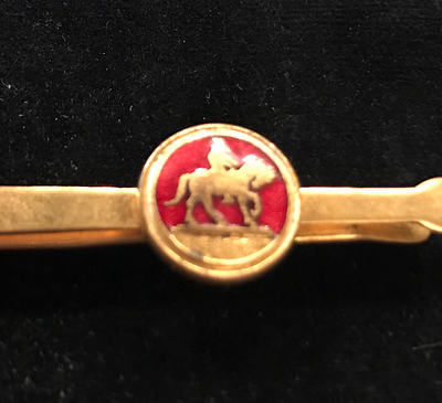 Tie bar, vintage, gold plate & red enamel, horse & rider (can also be used as a small money clip)