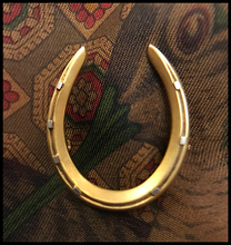 Load image into Gallery viewer, Brooch, antique 1900's horseshoe, 14 kt yellow & white gold