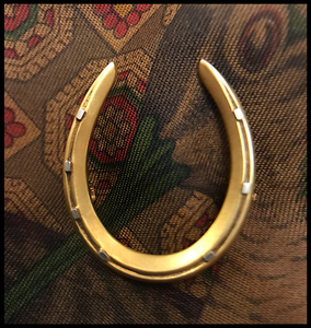 Brooch, antique 1900's horseshoe, 14 kt yellow & white gold