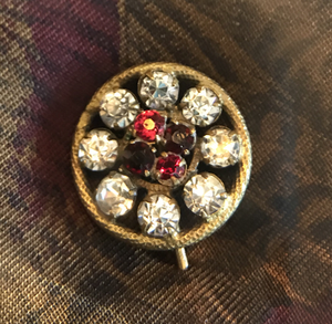 "Stickpin, antique ""ruby & diamond"" faux stones set in gold metal"
