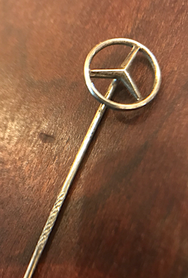 Stickpin, vintage Mercedes ornament, petite, lapel-tie pin