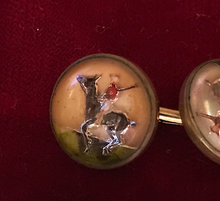 Load image into Gallery viewer, Cufflinks, vintage, double reverse painted Polo crystals