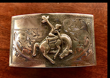 Load image into Gallery viewer, Belt Buckle, vintage sterling, bronc rider, hand crafted & signed, and in excellent vintage condition