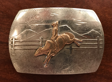 Load image into Gallery viewer, Belt buckle, vintage Irvine & Jachens, bull rider, brass & German silver