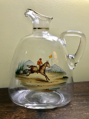 Bar/Tableware, Decanter, Antique blown glass with racing scene