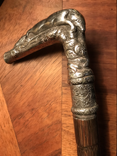 Load image into Gallery viewer, Cane-Walking Stick w silver resting fox handle, antique