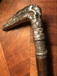 Cane-Walking Stick w silver resting fox handle, antique